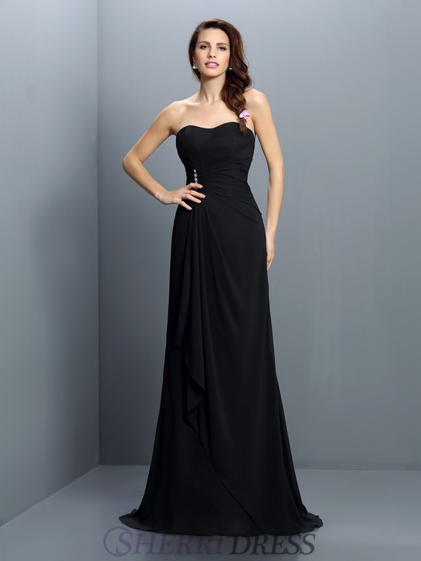 Trumpet/Mermaid Strapless Chiffon Sleeveless Sweep/Brush Train Bridesmaid Dresses