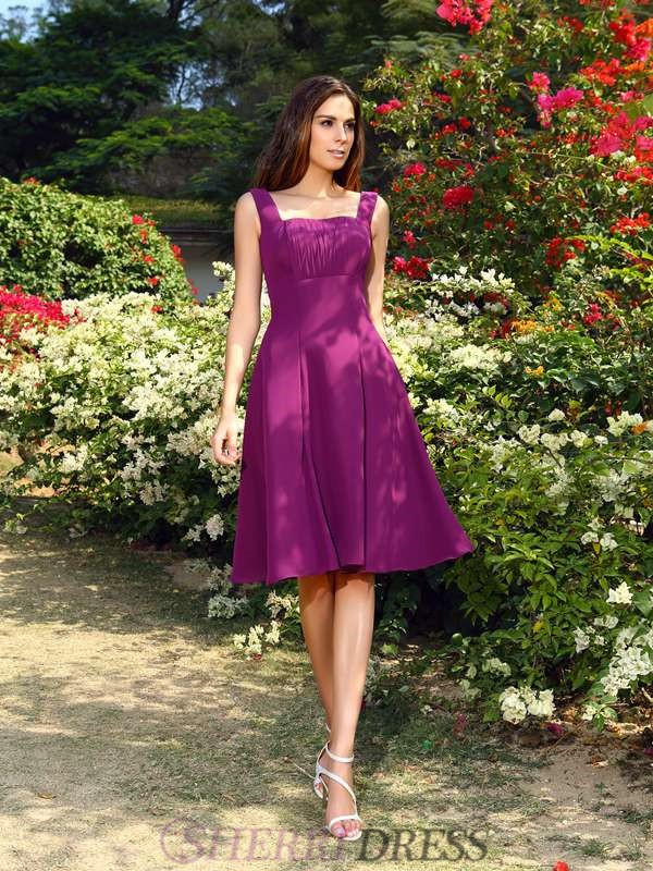 A-Line/Princess Square Chiffon Sleeveless Knee-Length Bridesmaid Dresses