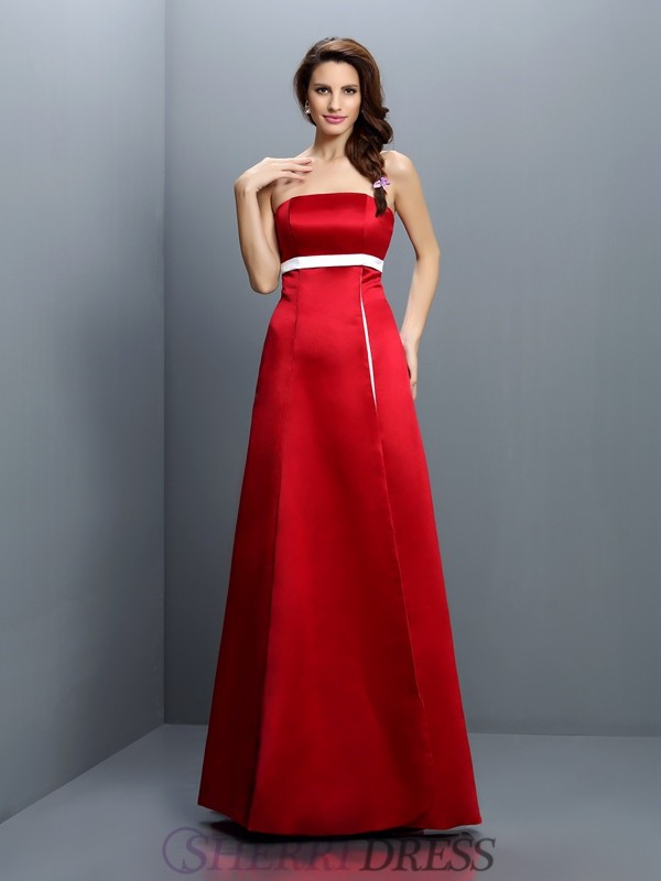 A-Line/Princess Strapless Satin Sleeveless Floor-Length Bridesmaid Dresses