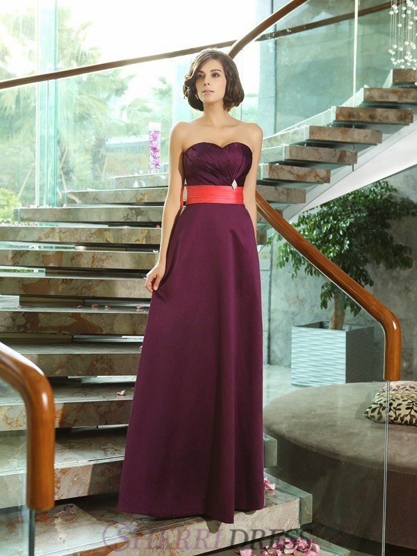 A-Line/Princess Sweetheart Satin Sleeveless Floor-Length Bridesmaid Dresses