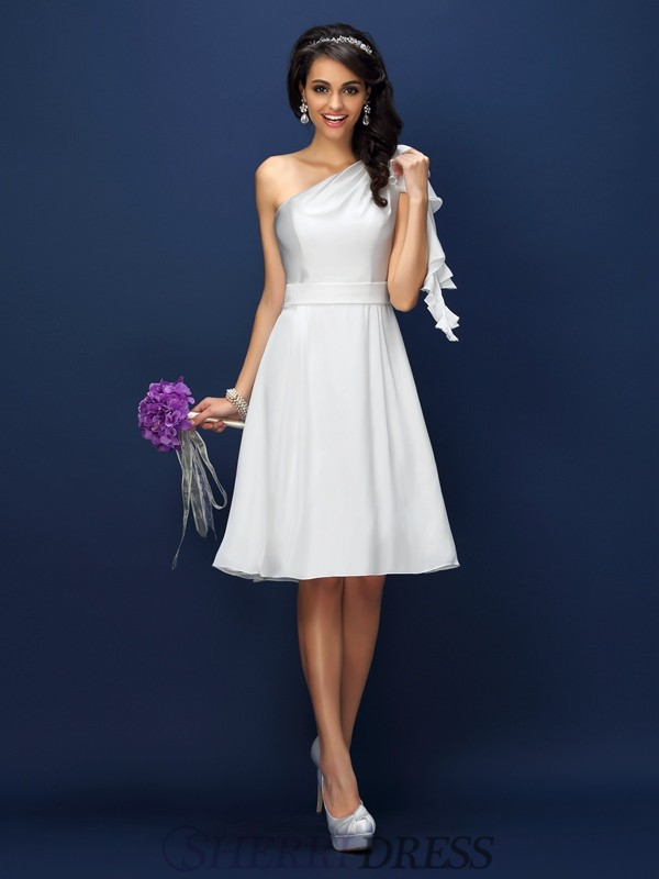 A-Line/Princess One-Shoulder Chiffon Sleeveless Knee-Length Bridesmaid Dresses