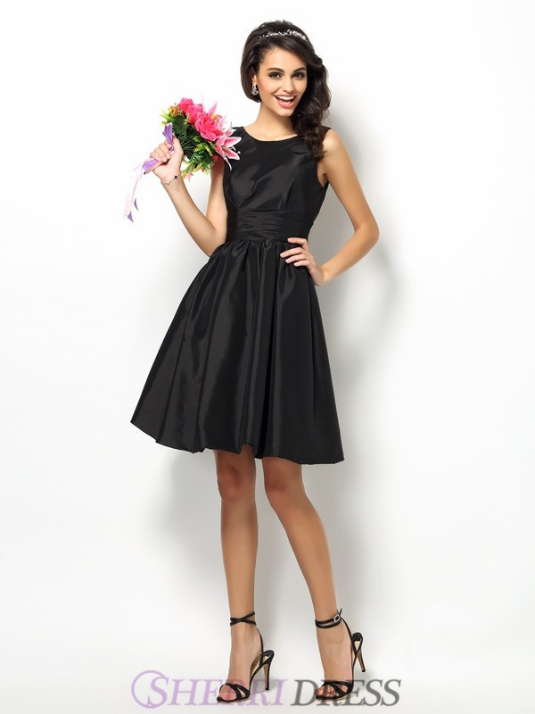 A-Line/Princess Bateau Taffeta Sleeveless Short/Mini Bridesmaid Dresses