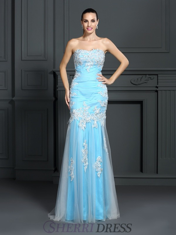 Trumpet/Mermaid Strapless Elastic Woven Satin Sleeveless Floor-Length Dresses