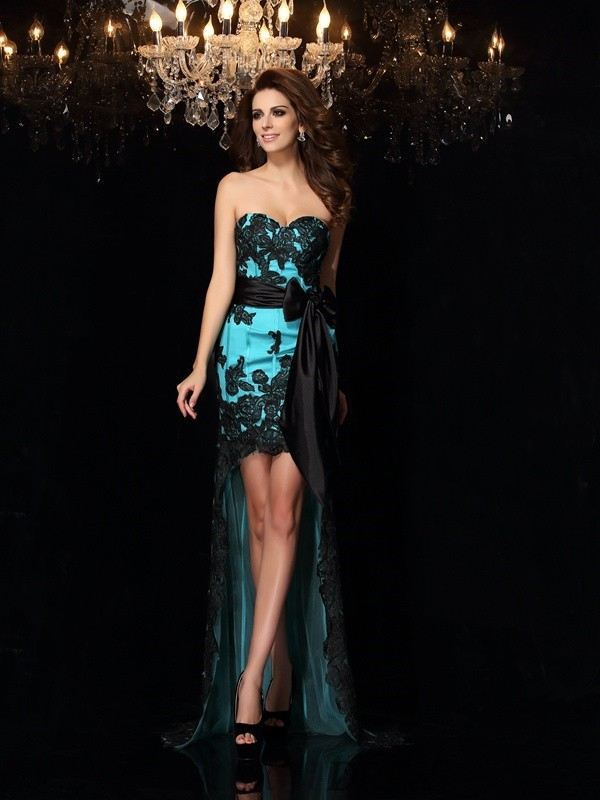 Sheath/Column Sweetheart Satin Sleeveless Asymmetrical Prom Dresses
