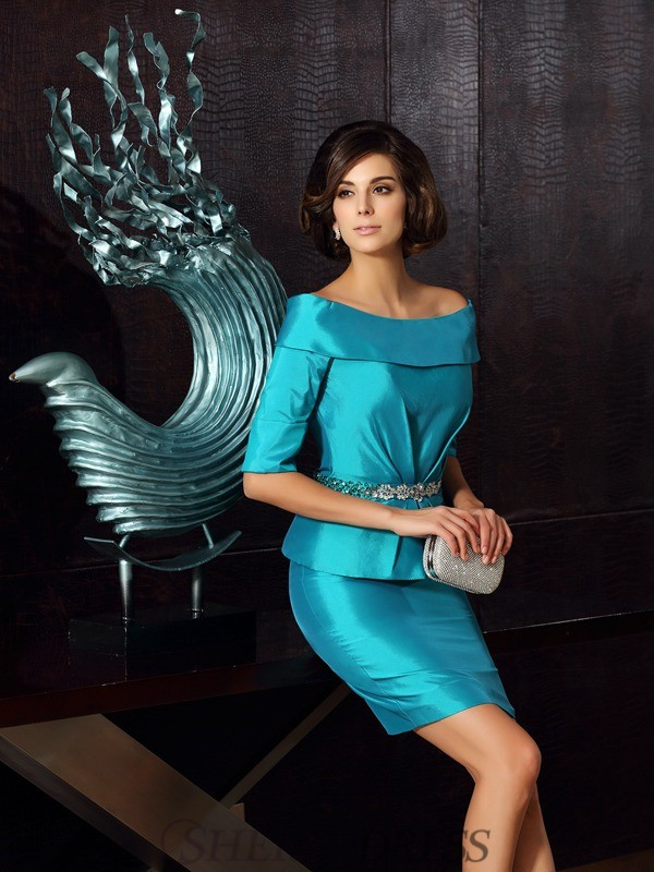 Sheath/Column Off-the-Shoulder Taffeta 1/2 Sleeves Knee-Length Mother of the Bride Dresses