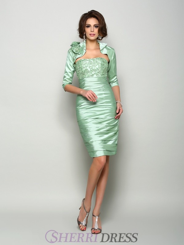 Sheath/Column Strapless Taffeta Sleeveless Knee-Length Mother of the Bride Dresses