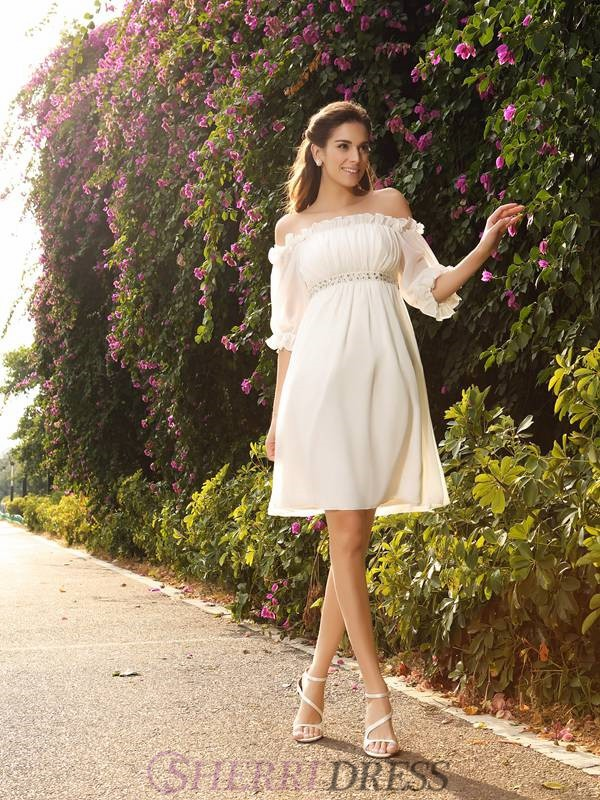 A-Line/Princess Off-the-Shoulder Chiffon 1/2 Sleeves Knee-Length Wedding Dresses