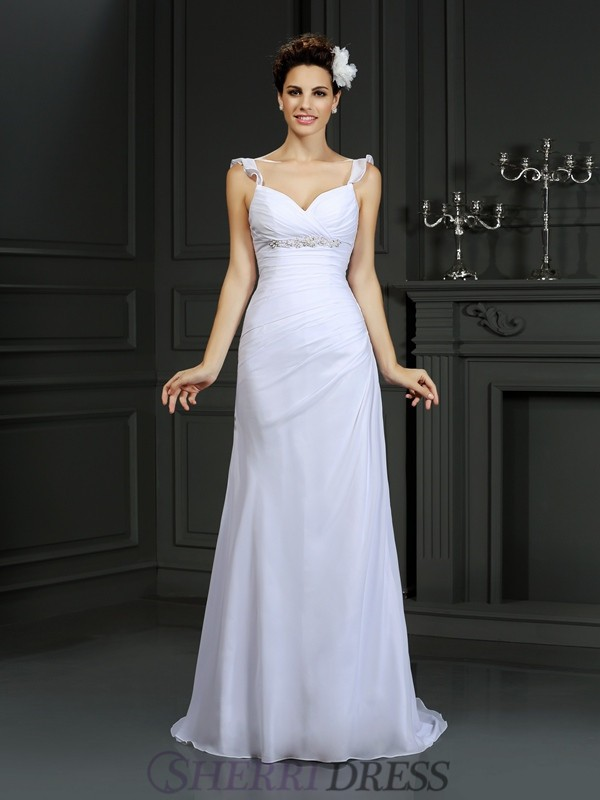 Trumpet/Mermaid Straps Chiffon Sleeveless Court Train Wedding Dresses