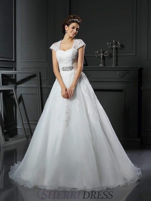Ball Gown Square Organza Sleeveless Chapel Train Wedding Dresses
