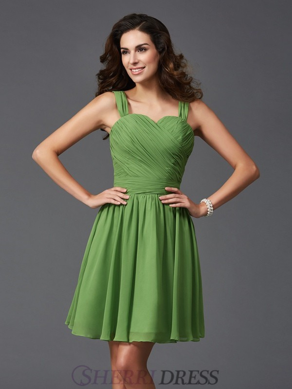 A-Line/Princess Straps Silk like Satin Sleeveless Short/Mini Bridesmaid Dresses