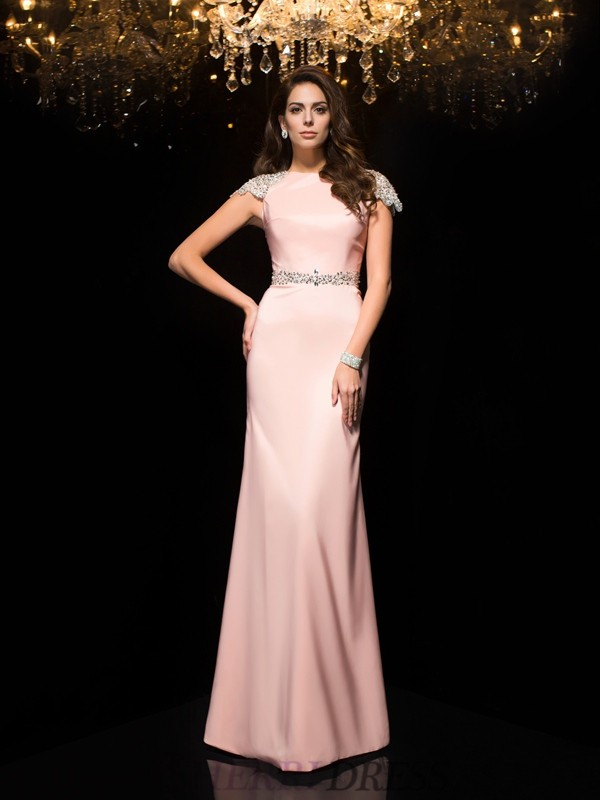 Sheath/Column Jewel Satin Short Sleeves Floor-Length Evening Dresses