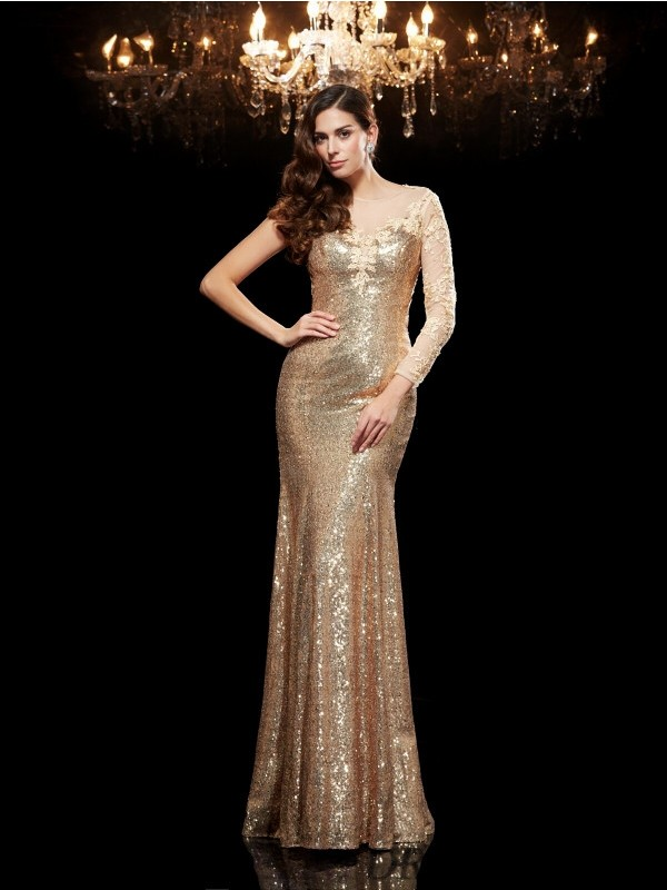 Trumpet/Mermaid Scoop Sequins 3/4 Sleeves Floor-Length Evening Dresses