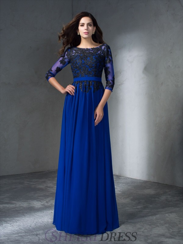 A-Line/Princess Scoop Chiffon 3/4 Sleeves Floor-Length Prom Dresses