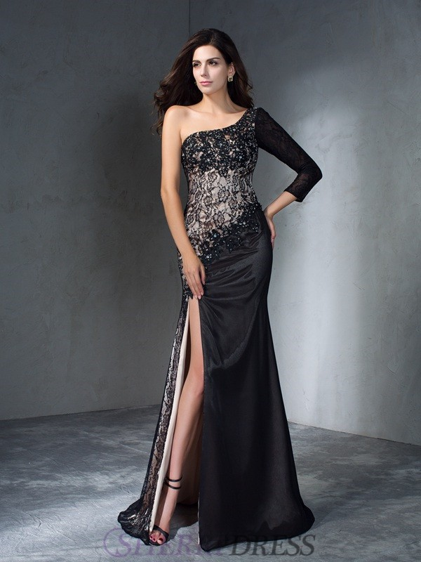 Trumpet/Mermaid One-Shoulder Lace 3/4 Sleeves Sweep/Brush Train Prom Dresses