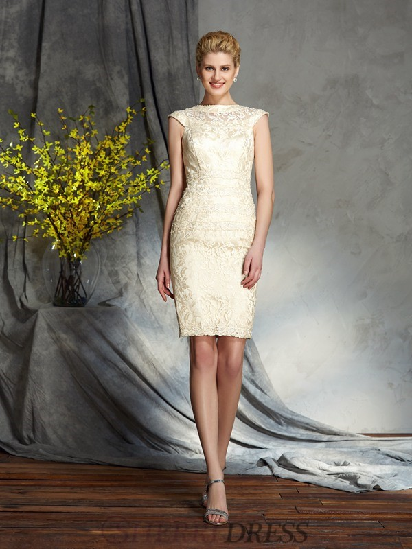 Sheath/Column Bateau Elastic Woven Satin Short Sleeves Short/Mini Mother of the Bride Dresses