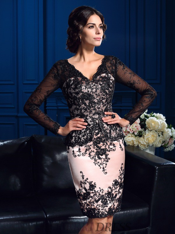 Sheath/Column V-neck Lace Long Sleeves Short/Mini Mother of the Bride Dresses