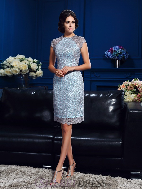 Sheath/Column Scoop Satin Short Sleeves Short/Mini Mother of the Bride Dresses