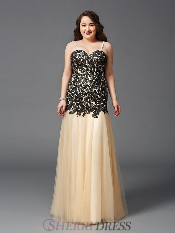 Sheath/Column Spaghetti Straps Net Sleeveless Floor-Length Plus Size Prom Dresses