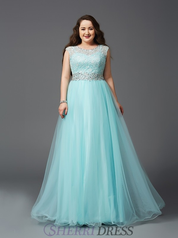 A-Line/Princess Scoop Net Sleeveless Floor-Length Plus Size Prom Dresses