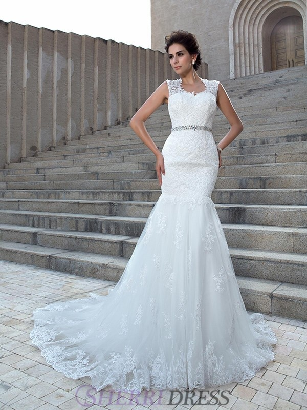 Trumpet/Mermaid V-neck Lace Sleeveless Chapel Train Wedding Dresses