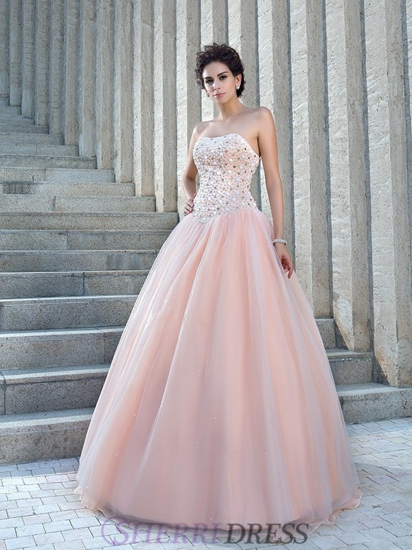 Ball Gown Strapless Satin Sleeveless Floor-Length Wedding Dresses