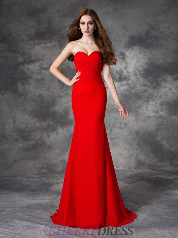 Trumpet/Mermaid Sweetheart Chiffon Sleeveless Sweep/Brush Train Bridesmaid Dresses