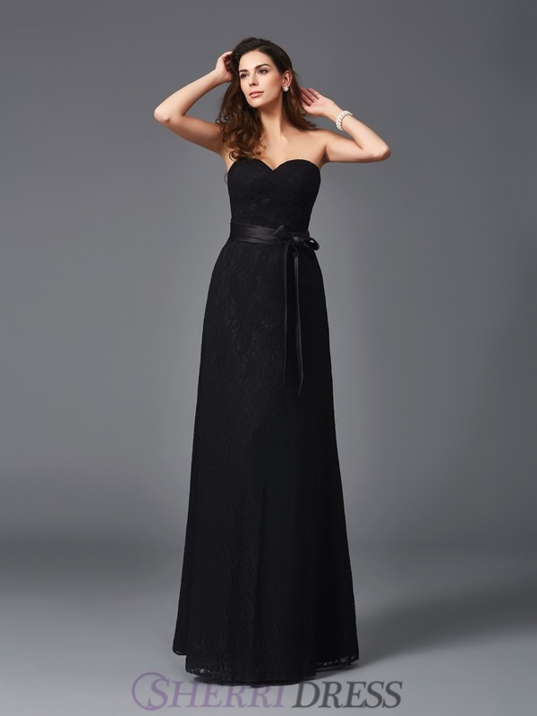 A-Line/Princess Sweetheart Lace Sleeveless Floor-Length Bridesmaid Dresses