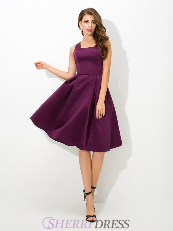 A-Line/Princess Square Satin Sleeveless Knee-Length Bridesmaid Dresses
