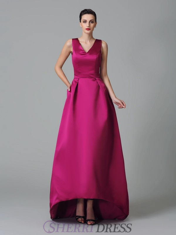 A-Line/Princess Straps Satin Sleeveless Asymmetrical Bridesmaid Dresses