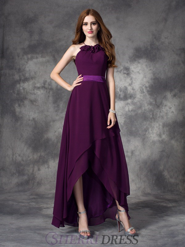 A-line/Princess Halter Chiffon Sleeveless Asymmetrical Bridesmaid Dresses