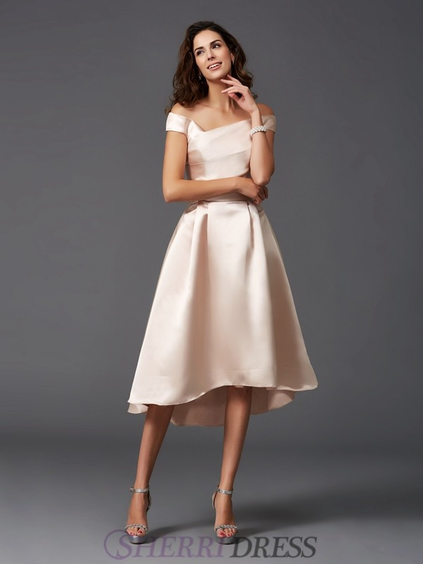 A-Line/Princess Off-the-Shoulder Satin Sleeveless Asymmetrical Bridesmaid Dresses