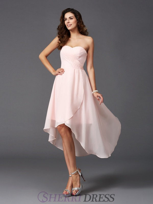 A-Line/Princess Sweetheart Chiffon Sleeveless Asymmetrical Bridesmaid Dresses