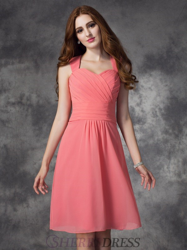 A-line/Princess Straps Chiffon Sleeveless Knee-Length Bridesmaid Dresses