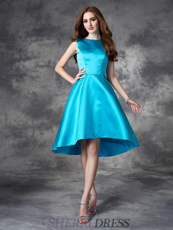 A-line/Princess Bateau Satin Sleeveless Asymmetrical Bridesmaid Dresses
