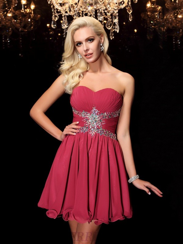 A-Line/Princess Sweetheart Chiffon Sleeveless Short/Mini Cocktail Dresses