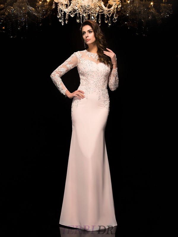 Sheath/Column Sheer Neck Chiffon 3/4 Sleeves Floor-Length Evening Dresses