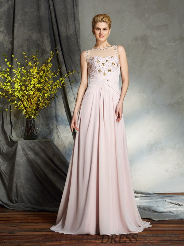 A-Line/Princess Bateau Chiffon Sleeveless Sweep/Brush Train Mother of the Bride Dresses