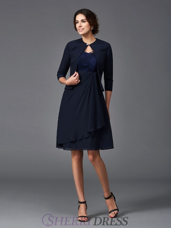 A-Line/Princess V-neck Chiffon 1/2 Sleeves Knee-Length Mother of the Bride Dresses