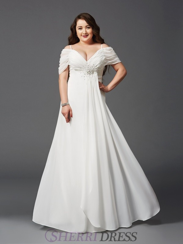 A-Line/Princess Off the Shoulder Chiffon Short Sleeves Floor-Length Plus Size Prom Dresses