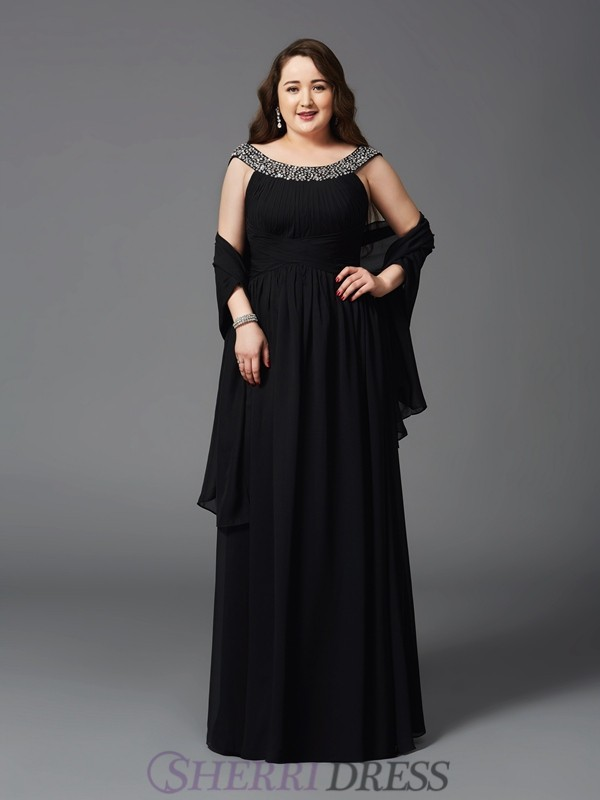 A-Line/Princess Scoop Chiffon Sleeveless Floor-Length Plus Size Prom Dresses