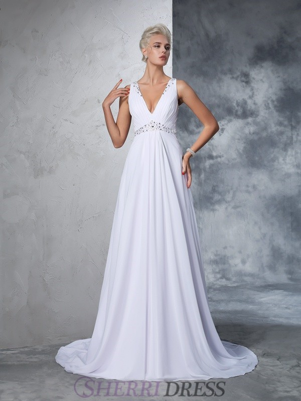 A-Line/Princess V-neck Chiffon Sleeveless Cathedral Train Wedding Dresses