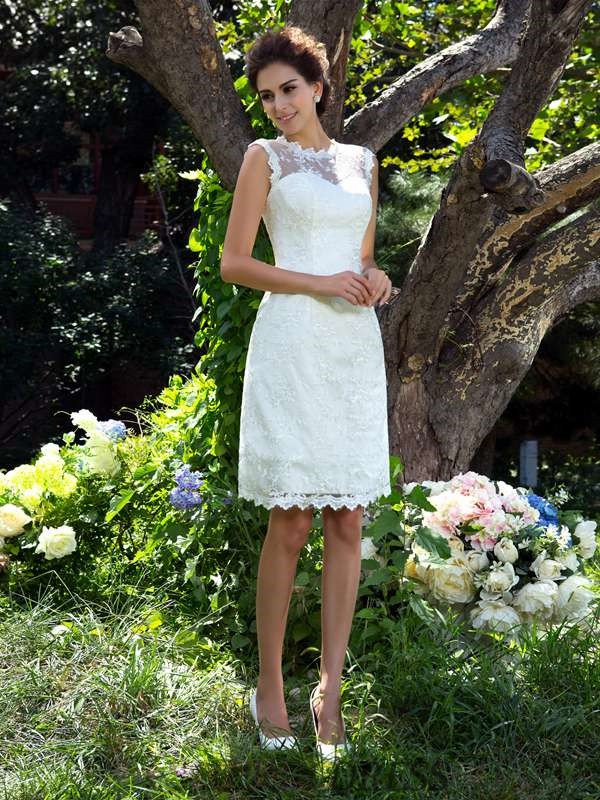 A-Line/Princess Sheer Neck Satin Sleeveless Knee-Length Wedding Dresses
