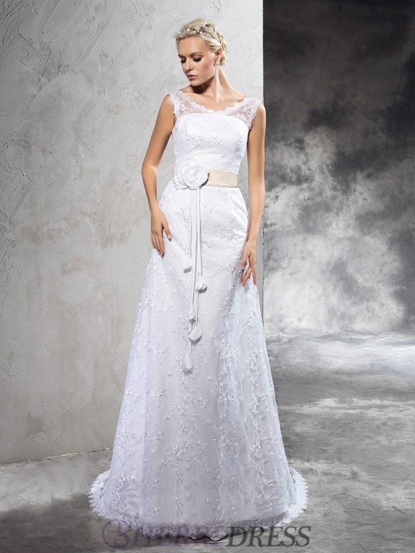 Sheath/Column Sheer Neck Satin Sleeveless Court Train Wedding Dresses