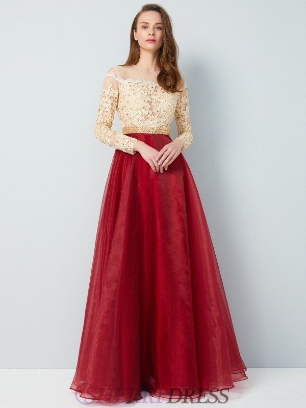 A-Line/Princess Sheer Neck Organza Long Sleeves Floor-Length Dresses