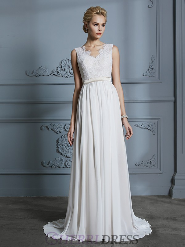 A-Line/Princess V-neck Chiffon Sleeveless Court Train Wedding Dresses