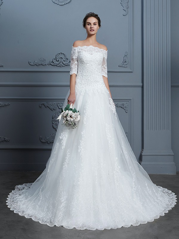 Ball Gown Off-the-Shoulder Lace 1/2 Sleeves Court Train Wedding Dresses