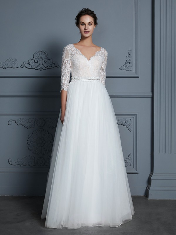 A-Line/Princess V-neck Tulle 3/4 Sleeves Floor-Length Wedding Dresses