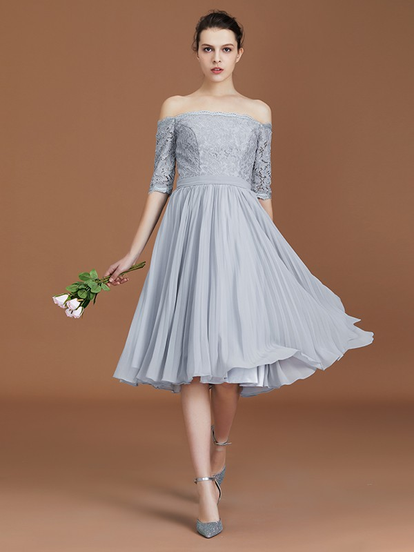 A-Line/Princess Off-the-Shoulder Chiffon Short Sleeves Tea-Length Bridesmaid Dresses