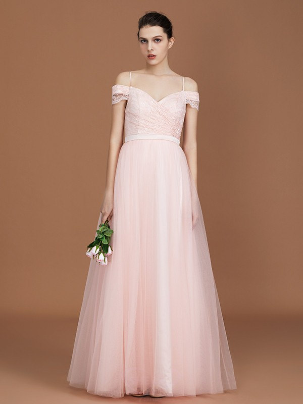 A-Line/Princess Sweetheart Tulle Short Sleeves Floor-Length Bridesmaid Dresses