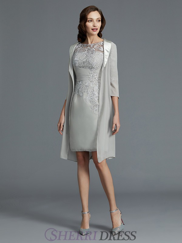 Sheath/Column Scoop Chiffon 1/2 Sleeves Short/Mini Mother of the Bride Dresses